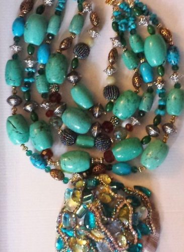 Big Bold Chunky Turquoise Statement Necklace Iris Apfel WOW FACTOR Heavy Gypsy Necklace Couture Red Carpet