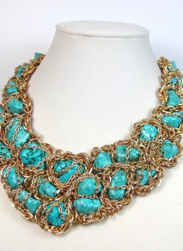 Big Bold Chunky Turquoise Statement Necklace Iris Apfel WOW FACTOR Heavy Gypsy Necklace Couture Red Carpet24