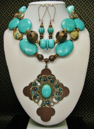 Big Bold Chunky Turquoise Statement Necklace Iris Apfel WOW FACTOR Heavy Gypsy Necklace Couture Red CarpetRebecca22