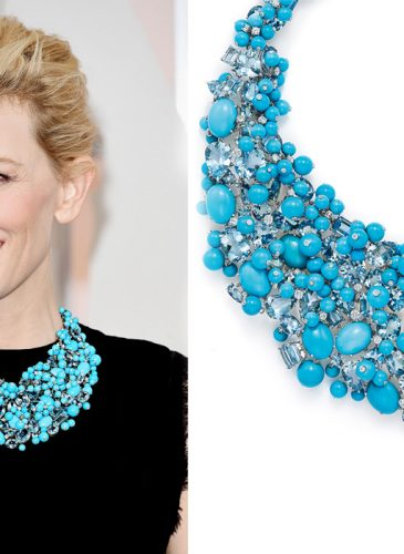 shades of turquoise Cate Blanchett in a turquoise, aquamarine and diamond necklace from the 2015 Tiffany Blue Book