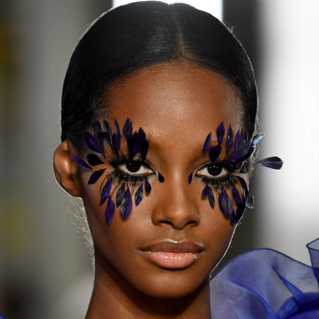 Pat McGrath wows with her Feather Lashes and Floral Face Paint at Valentino Couture