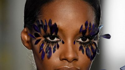 Pat McGrath Feather Lashes and Floral Face Paint at Valentino Couture Runway Show
